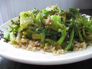 bright green stir fry