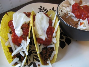 tacos and refried beans