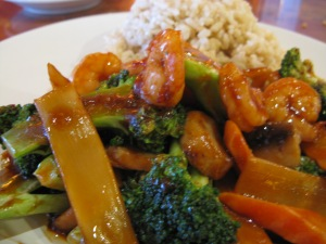 hunan shrimp with brown rice